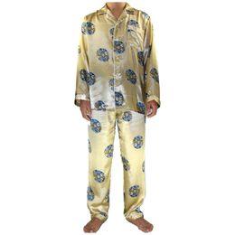 d127c55223 2PCS Gold Chinese Men Silk Robe Pajamas Set Long Sleeve Pyjamas Suit Male  Shirt Pant Sleepwear Bath Gown S M L XL XXL XXXL MP016
