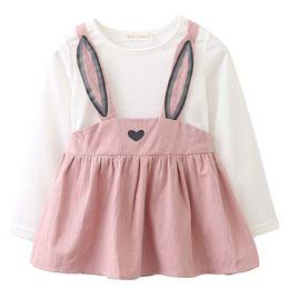 vestidos geométricos del boutique Rebajas Vestidos de bebé Orejas de conejo impresión 2018 Nuevo otoño Primavera niñas bebés ropa princesa traje de vestir recién nacido para 6M-24M