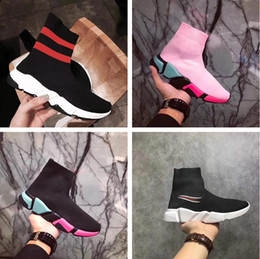 Wholesale White Boot Soles - Double Box Mixed Color Sole Speed Trainer Casual Shoe Man Woman Ankle Boots New Stretch-knit Slip On Elastic Race Runner Sneaker Pink Yellow