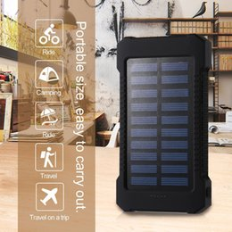 Wholesale Power Bank External Battery Waterproof - 30000mAh Dual USB Waterproof Solar Power Bank External Battery Phone Charger With LED Light Black ZA482104