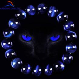 Wholesale Tiger Eye Round Beads - whole saleCAMDOE DANLEN Fashion AAA Blue Tiger Eye Buddha Bracelets Men Natural Stone Round Beads Elasticity Rope Men Women Charm Bracelet