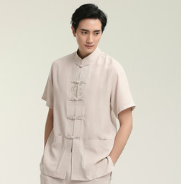 Wholesale Tai Chi Clothing Linen - Hot Sale Chinese Tai Chi Man Short Sleeve Dress Shirts Summer Cotton Linen Kung Fu Top Clothing M L XL XXL XXXL 2708