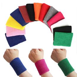 Muñequeras de tela online-Algodón Unisex Sport Sweatband Muñequera Baloncesto Protector de muñeca Corriendo Badminton Baloncesto Brace Terry Cloth Sweat Band