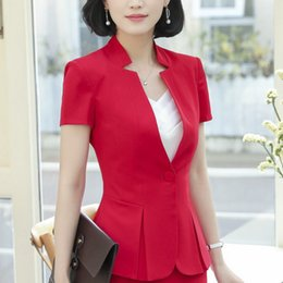 2019 diseños de uniformes para mujeres Traje de manga corta clásico OL de Jaqueta Feminina Chaqueta Blazer Feminino Office Uniform Style Designs Mujeres Trajes formales de mujer diseños de uniformes para mujeres baratos