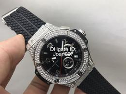 2019 bracelet en caoutchouc 2017 Luxe Homme Montre Diamant Lunette Noir Cadran Noir Caoutchouc Bracelet Sport Montres 44 mm VK Quartz Chronographe Mouvement hommes Montres bracelet en caoutchouc pas cher
