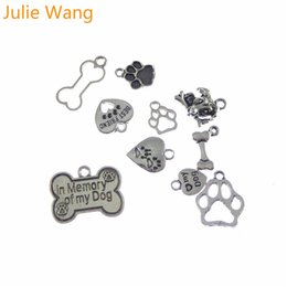 Wholesale Dog Bone Accessories - Julie Wang 10pcs Antique Silver Miexd Bone Dog Footprints Heart Charm Alloy Necklace Pendants DIY Jewelry Making Metal Accessory