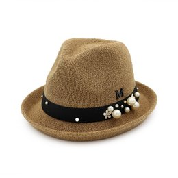 Wholesale girl fedora hat pink - ZMINORS COTTON SUN HAT fedora WITH PEARL AND FLOWER FOR WOMEN AND GIRLS