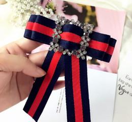 Deutschland Korea Styles Geometrie Square Crystal Buckle Krawatte Broschen Handmade Ribbon Stripe Bowknot Corsage Preppy Styles Shirt Zubehör Versorgung