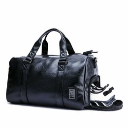 Black Gym Bag Men Leather Duffle Bag Women Independent Shoe Storehouse Sport  Crossbody PU Travel Bags Hand Luggage For Gym 4453967a89