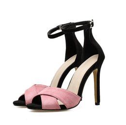 cee09450224bf elegant synthetic suede patchwork high heels sandal for women designer shoes  sexy ankle strappy shoes 2018 size 35 to 40