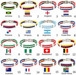 Wholesale Band Braces - 2018 Russia World Cup Country Flag Bracelet Wristband Adjustable Braided Leather Brace Band Gift Soccer Souvenir