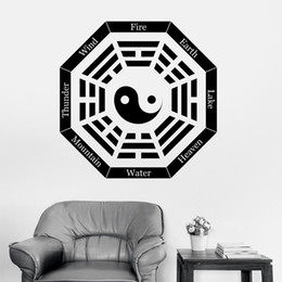 Wholesale feature art - Yin Yang Symbol Wall Sticker I Ching Eight Trigrams Vinyl Decal Mountain Water Earth Wind Heaven Art Stickers Features Z318