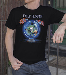Wholesale vintage band tees - Deep Purple Men Black T-shirt Rock Band Tee Vintage Shirt Slaves And Masters