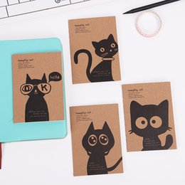 Blocco note del gatto online-Kraft Paper Black Cat Notebook Vintage Notepad Quaderno Giornali Memo Kraft Cover Journal Note Books Cancelleria per ufficio