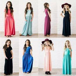 Wholesale cheapest wedding gowns - Cheapest Summer Kids Girls Dresses 2018 New Arrival Short Sleeves Crew Neck Floor Length Little Girls Wear Maxi Gowns MC1696
