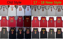 Wholesale Old Basketballs - 2017-18 New And Old #23 LeBron James Jersey 9 Dwyane Wade 1 Derrick Rose 3 Isaiah Thomas 0 Kevin Love Jerseys Stitched Embroidery