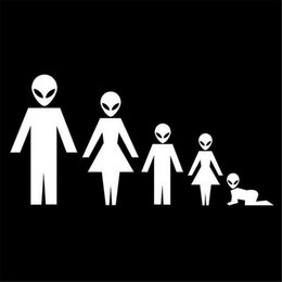 Wholesale vinyl family car stickers - Car Stickers and Decals Alien's Family Door Body Window Decoration Vinyl Stickers Car Decals