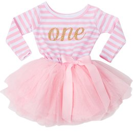 Wholesale kids dress designs cotton - newborn Baby Girls Tutu 1 year 2 year Birthday Dress Girls Dresses Long Sleeve Striped Design Kids Baptism Dress For Children School Clothes