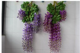 Wholesale Wisteria Home Decor - Artificial Wisteria Flower New Long Type Silk Flower Vine Fake Plant Wedding Window DIY Decoration for Home Hotel Shop Decor Free Shipping