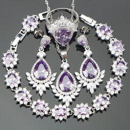 Wholesale Purple Costume Jewelry - whole saleChristmas Purple CZ Silver 925 Costume Bridal Jewelry Sets For Women Earrings Rings Pendant Necklace Bracelets Free Gift Box