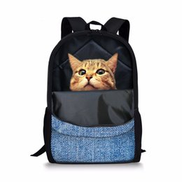 3a3b4331d800 Funny 3D Printing Cats School Bags For Girls Opening Style Denim Animals  Design Children Schoolbags Primary Students Book Bags