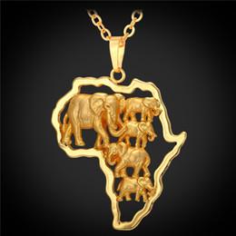 hombres afortunados de oro Rebajas Hot Yellow Gold Color Africano Mapa Joyas Hombres Afortunados / Mujeres Étnicas África Elefante / León / Antílope Animal Collar Colgante P1924