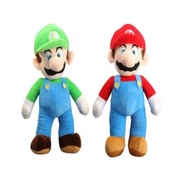 "Wholesale Mario Dolls Toys - 100% Cotton 2pcs Lot 9"" 23cm Super Mario Bros . Mario And Luigi Plush Doll Stuffed Toy Best Gifts"