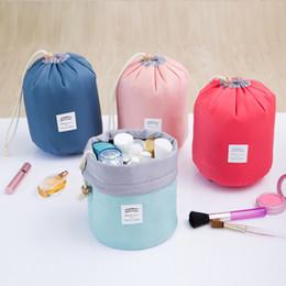 Wholesale Three Barrel - 4 Colors 17*23cm Barrel Shaped Travel Cosmetic Storage Bag Nylon Drum Washable Makeup Organizer Pouch Cosmetic Makeup Bag 200pcs
