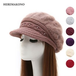 5e9ec6cb733b8 Autumn and winter days Ms hat fashion Plus cashmere Rabbit hair cap winter  pearl Keep warm knitting Berets