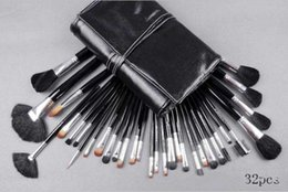 Wholesale Hair Functions - 32Piece Makeup Brushes Set Wool Brush End Wood Handle Multi-Function Brushes With Good Quality Black Leather Pouch