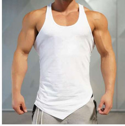 f76c30b57951 Marke Einfarbig Kleidung Gyms Tank Top Männer Fitness Sleeveless Shirt  Baumwolle blank Muskel Weste Bodybuilding Stringer Tanktop