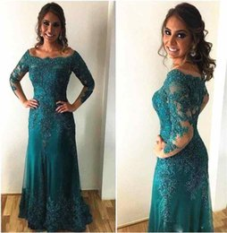 Wholesale multicolor turquoise beads - 2018 Turquoise Scoop Mother Off Bride Dresses Long Sleeves Lace Applique Beads Sweep Train Column Off Shoulder Wedding Guest Evening Gowns