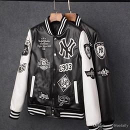 Camisolas pu on-line-Best selling 2018 homens jaquetas marca homens casuais pu casaco de moda hip hop beisebol bordado jaqueta de NY moletom