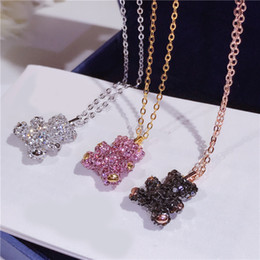 Wholesale Teddy Pendant Chain - Korean version of the new cute three-dimensional teddy bear necklace S925 sterling silver studded women's clavicle c Valentine's Day present