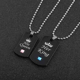 Wholesale Jewelry For Dog Lovers - Fashion jewelry Her King & His Queen Couple Necklaces Dog tag crystal charm Necklace pendant for lover Christmas Valentines gift