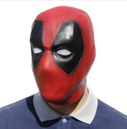 Volle kopfhelme online-Handmade Deadpool Cosplay Maske Rot Latex Vollkopf Gesicht Helm Deadpool Cosplay Kostüm Requisiten Halloween Maske
