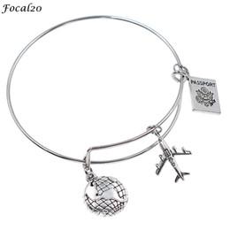 913d53a1c3 Focal20 Vintage Metal Earth Airplane Female Bangle Bracelet Antique Silver  Color Pendant Bangle Women Jewelry