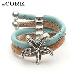 Wholesale r clustering - Cork ring with sky blue color starfish Sea stars charm Handmade original jewelry adjustable the size of the ring,R-071