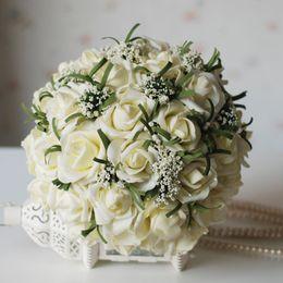 beliebte hochzeitsstrauß blumen Rabatt Populäre Brautsträuße 2019 für die Braut-Silk Hand, die Blumen handgemachte Hochzeits-Brautblumenstrauß-Zusatz-weiße Rose hält