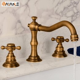 Wholesale Double Handle Bathroom Sink Faucets - Wholesale-Basin Faucet Deck Mounted Three Holes Double Handles Widespread Bathroom Sink Faucet, Antique Brass Finished