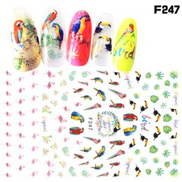 Wholesale Nail Art Cartoon Stickers - China manicure tips Suppliers 1 Sheets Stickers For Nail Flamingo Cartoon Nail Art 3D DIY Decoration Fashion Animal Decals Gel Polish