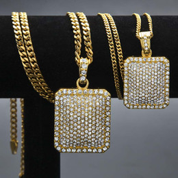 Silver Gold Crystal Rhinestone Square Necklace Rock Hip Hop Necklace Chains Club Fashion Jewelry for Women Men Gift Drop Shipping Deals