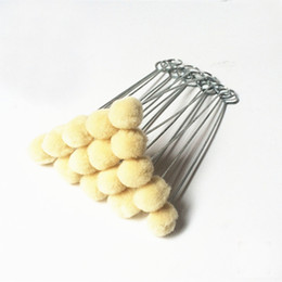 wool ball diy Promo Codes - 20 Pcs DIY Leather Tool Accessories Wool Daubers Assisted Dyeing Wools Ball Brush Metal Handle Free Shipping
