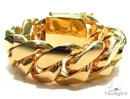 Wholesale Red Gram - Mens Gold Bracelet 9.5inches 26mm 10k Yellow 463.70 grams