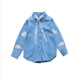 085db65d540 Children Sequined Embroidery Jeans Blouse Kids Tops Girls 11 9 12 14 Years  Outwears Students Girls Lace Bow Shirts Spring Autumn