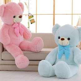 Wholesale valentines day bears - SAMPLE Pink Teddy Bear with Bowtie Toy 33in. Stuffed Giant Teddy Bear Toy Blue Plush Bear Toy Valentine Day Kids Birthday Gift