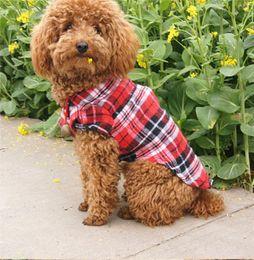 Wholesale pet apparel for large dogs - Cute Pet Plaid Shirts Pet Fashion Clothes Button Puppy Coat Dog Apparel Pet Supplies for Spring Summer Autumn