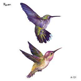 Tatuagem temporária impermeável para pássaros on-line-Wyuen New Design Beija-flor Falso Tatuagem Flor Original À Prova D 'Água Tatoo Braço Adesivos Body Art Bird Tatuagens A-131