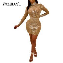 Wholesale Sequin Dress Women - Yozihayl Sexy Nigh Club Party Mini Dress Women Embellished Beading Short Sequin Long Sleeve Dress Shining See Through Mesh