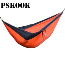 "Wholesale Parachute Tents - PSKOOK Double Persons Hammock Tent Ultralight Parachute Portable Nylon Camping Hiking Hammac Yard Hamak Length 118"" Width 78"""